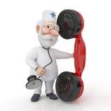 O doutor 3D com telefone. Fotos de Stock Royalty Free