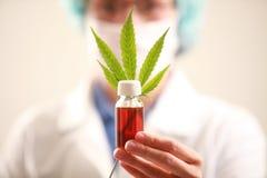 O doutor da mulher que guarda um cannabis folheia e lubrifica Medicina alternativa Fotografia de Stock