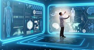 O doutor do homem no conceito médico da medicina futurista fotografia de stock