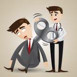 O doutor dos desenhos animados enrola acima o robô do homem de negócios Fotografia de Stock Royalty Free
