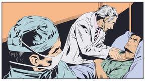 O doutor idoso examina o homem Ilustração conservada em estoque ilustração stock