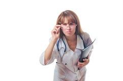 O doutor mantém o dobrador preto disponivel fotografia de stock