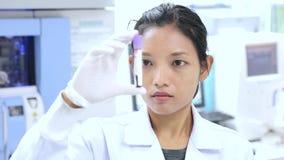 O doutor no laboratório examina a amostra vídeos de arquivo