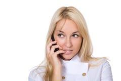 O doutor novo escuta o telefone móvel fotos de stock