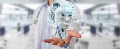 O doutor que usa a relação digital 3D da inteligência artificial rende ilustração do vetor