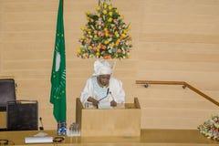 O Dr. Nkosazana Dlamini-Zuma entrega um discurso fotografia de stock