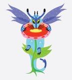 O dragão come o pólen. ilustração do vetor