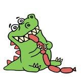 O dragão come salsichas Ilustração isolada do vetor ilustração royalty free