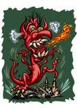 O dragão da fúria está destruindo a cidade ilustração stock