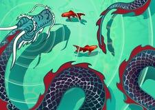 O dragão de água pairou acima da superfície da água ilustração stock
