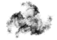 O dragão deu forma à nuvem de fumo isolada sobre o fundo branco Imagens de Stock