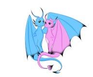 O dragão dois mágico senta-se em um abraço ilustração royalty free