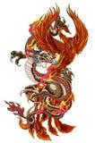 O dragão e o Phoenix ateiam fogo ao pássaro com suco do pêssego e flor da peônia, flor de cerejeira, flor do pêssego no fundo da  ilustração stock