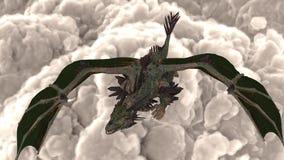 O dragão está voando no céu nebuloso e no fogo de respiração ilustração royalty free