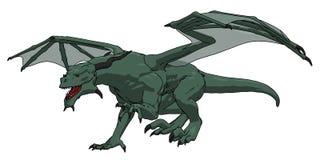 O dragão isolado na ilustração branca dos desenhos animados do fundo ilustração do vetor