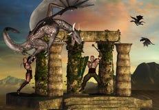 O dragão luta guerreiros Fotografia de Stock Royalty Free