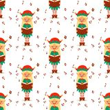 O duende de Santa Claus caçoa o traje tradicional dos caráteres dos duendes das crianças da ilustração do vetor dos ajudantes do  Imagens de Stock Royalty Free