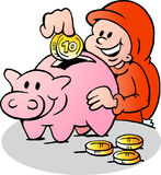 O duende do Natal feliz pôs o dinheiro no mealheiro Imagens de Stock