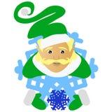 O duende Santa Claus o louro sob a forma de um floco de neve um ícone para manter a neve disponivel No fundo branco para a impren Imagens de Stock