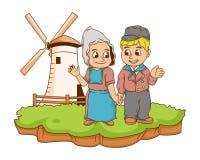 O Dutch caçoa a ilustração com inclinações Foto de Stock