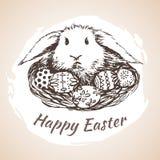 O earster feliz isolou o símbolo tirado mão - flor, ovos, grama Fotos de Stock