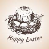 O earster feliz isolou o símbolo tirado mão - flor, ovos, grama Fotos de Stock Royalty Free