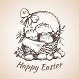 O earster feliz isolou o símbolo tirado mão - flor, ovos, grama Imagens de Stock Royalty Free