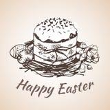 O earster feliz isolou o símbolo tirado mão - flor, ovos, grama Imagem de Stock