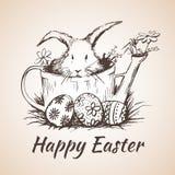 O earster feliz isolou o símbolo tirado mão - flor, ovos, grama Imagens de Stock