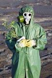O ecólogo científico abraça delicadamente uma planta fotos de stock royalty free