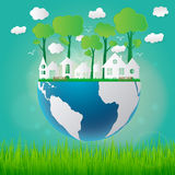 O eco do conceito da ecologia amigável e salvar a terra com grama Imagem de Stock Royalty Free