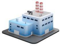 O edifício industrial no branco, 3d rende Imagem de Stock Royalty Free