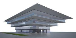 O edifício moderno 3d exterior rende Ilustração do Vetor
