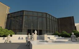 O edifício moderno integrou em histórico Imagens de Stock Royalty Free