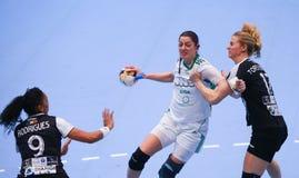 O EHF das mulheres patrocina a liga - CSM BUCARESTE contra GYORI AUDI ETO KC Foto de Stock Royalty Free