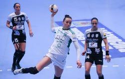O EHF das mulheres patrocina a liga - CSM BUCARESTE contra GYORI AUDI ETO KC Imagens de Stock Royalty Free