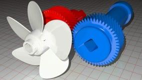 O eixo azul com a engrenagem helicoidal dentada dá o poder a um eixo vermelho que mova uma hélice branca - vídeo da rendição 3D ilustração do vetor
