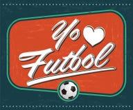 O EL Futbol de Yo amo - futebol do amor de I - espanhol do futebol text Imagens de Stock