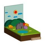 O elefante 3D com vetor da montanha e do rio da natureza projeta ilustração do vetor