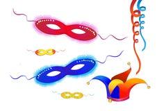 O elemento-carnaval festivo do vetor mascara o purim Foto de Stock