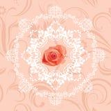 O elemento circular decorativo com aumentou no fundo floral sem emenda Imagem de Stock Royalty Free
