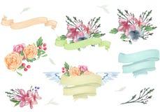 O elemento de cor bonito floral da aquarela do desenho do projeto de Bounquet das flores das fitas molda a bandeira para o aniver ilustração stock