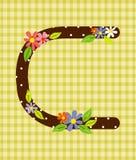 O elemento floral brilhante da letra C do alfabeto colorido dentro Fotografia de Stock Royalty Free