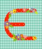 O elemento floral brilhante da letra E do alfabeto colorido dentro Imagem de Stock
