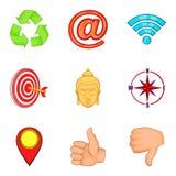 O elemento para ícones do projeto ajustou-se, estilo dos desenhos animados Fotos de Stock
