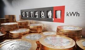 O eletrômetro está medindo o consumo de potência Moedas no primeiro plano Conceito caro da eletricidade 3D rendeu a ilustração Fotografia de Stock