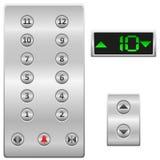 O elevador abotoa a ilustração do vetor do painel Fotos de Stock Royalty Free