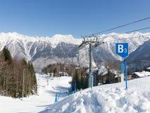O elevador de esqui Gazprom em Sochi Fotografia de Stock