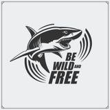 O emblema com tubarão para uma equipe de esporte Imagem de Stock