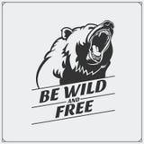 O emblema com urso Imagens de Stock